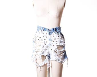 Vtg Studded Bleach High Waist Long  Shorts Size 10