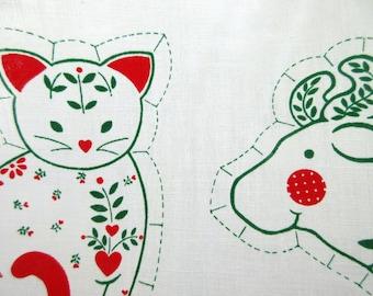 Vintage Sew and Stuff, Homespun Barnyard Ornaments, Sew Stuff Ornaments, Christmas Ornaments Fabric, Springs Mills Panel, Animal Ornaments