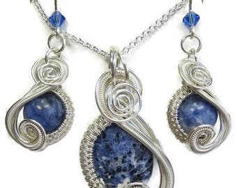 """Sodalite & Swarovski Crystal Wire-Wrapped """"Swish"""" Earring/Necklace Set in Sterling Silver"""