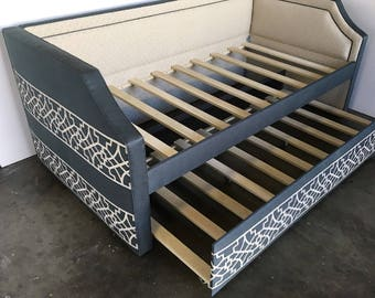 Custom Upholstered Daybed w/Notched Arms, Inset Piping, Rolling Trundle- COM