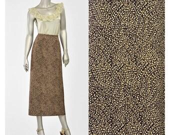 SALE - 90s Skirt • 1990s Brown Floral Skirt • Floral Midi Skirt • High Waist Floral Maxi Skirt • Long Floral Skirt • Dark Brown Skirt (L)