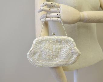 1960s La Regale White Sequin Evening Bag
