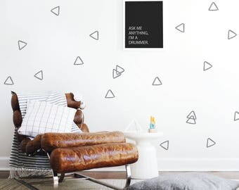 Hollow Triangles Wall Decal Kids Wall Decal Gray Triangles Wall Decal Outline Wall Decal Monochrome Decor. Hollow Triangles Wall Decal