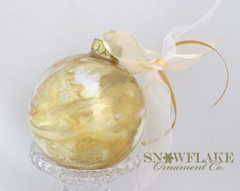 GLORIOUS GOLDS  Custom Christmas Ornament - Personalized Glass Gift
