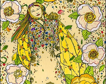 La Princesse Fleurie - The Flower Princess Archival 5 x 7 Blank Handmade  Greeting Card