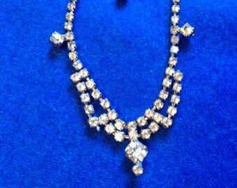 Vintage Rhinestone Necklace, Rhinestone Choker Necklace, 50's Necklace