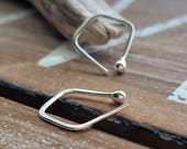 Small Triangle Hoops, Argentium Silver Kite Earrings, Open end, 20g or 18g - Artisan Slip on Hoops