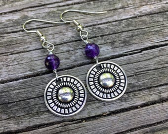 Silver Mandalas . Amethyst Gemstones . Earrings