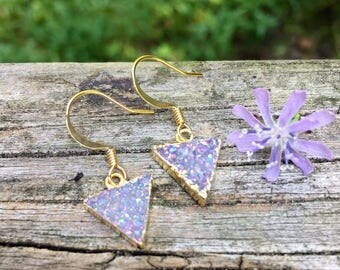 Lilac Druzy Triangle . Gold . Earrings