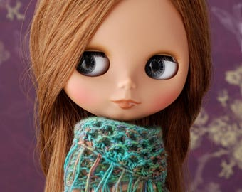 Multicolored triangle scarf with frays for Blythe