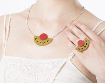 Colorful necklace, Minimalist pendant necklace, Dainty necklace, Boho chic necklace, Geometric necklace, Glamour necklace, Short necklace