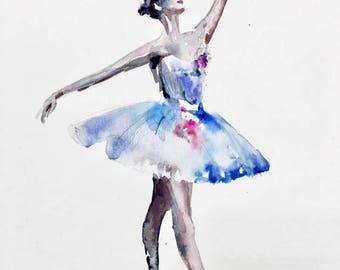 "Ballerina / 12""x9"" original watercolor painting"