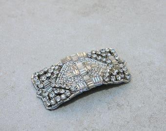 Glamorous Art Deco Silver Rhinestone and Bead Applique Hair Clip // Wedding Wear // Fascinator // Bridesmaid //Great Gatsby // Roaring 20s