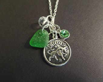 Taurus Charm Necklace with Green Scottish Sea Glass and April Birthstone, Zodiac Jewelry, Gift from Scotland