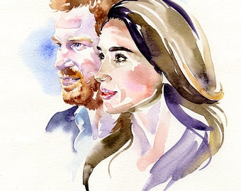 Harry and Meghan, limited edition fine art (giclée) print, 12 x 16 inches( 30.5 x 40.5 cm.)