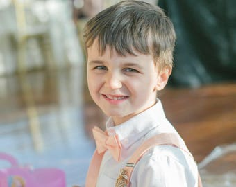 Peach Bow Tie, Peach Suspenders or Set, Adults & Children, 10% OFF for orders of 5 or more! Please use coupon code TENOFF5 at checkout! USA