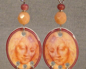 Leonardo DaVinci Madonna Earrings - Artistic jewelry - Pink Beaded Jewellery