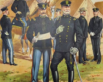 U.S. Army Major General & Officers of the Staff Corps Uniforms c1902 by H.A. Ogden, Vintage 1960 Large 12x16 Art Print, FREE SHIPPING
