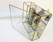 Vintage Brass Glass Display   Glass Case   Small Glass Cabinet   Curio Display   Shadow Box Terrarium   Mirror Display