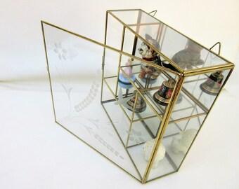 Vintage Brass Glass Display | Glass Case | Small Glass Cabinet | Curio Display | Shadow Box Terrarium | Mirror Display