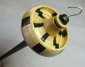 Segmented Drop Spindle in Wenge & Maple, Top Whorl Drop Spindle for Hand Spinning by Ken Mocker, Silly Salmon Designs