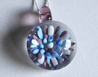 Lilac Purple White Blue Lampworked Glass Flower Pendant Necklace on 925 Silver Chain Implosion Handmade Torchwork Glassblowing Flamework