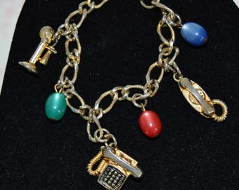 Vintage Bracelet with Telephone and Moon Glow Bead Charms