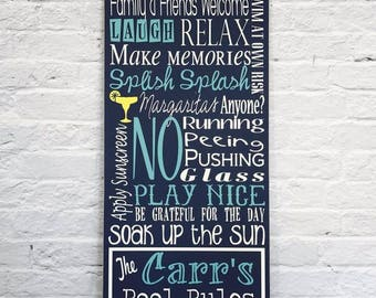 pool rules wood sign, personalized sign, custom pool sign, pool rules sign, swimming pool sign, outdoor sign, wood sign, pool decor, patio