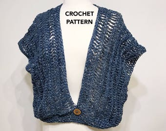 Beach Top Pattern, The Inwood Shrug Crochet Pattern, Instant PDF Download