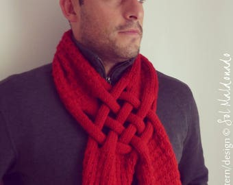 Knitting Pattern Scarf  - Weave Neck warmer PDF  - man, woman, adult Unisex - Gift for him, Gift for her - Instant Download