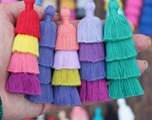 "Tiered Tassels New SPRING Colors, 3"" Handmade Cotton Tassel for Earring/Necklace Making, Jewelry DIY, Ombre Colors, Layered Tassels, 1 piece"