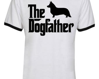 The Dogfather Corgi Shirt - The Dog Father Corgi Shirt - Dog Dad - Dog Lover - Father's Day -  Men Unisex Ringer Tee T-Shirt - IZRSUB150