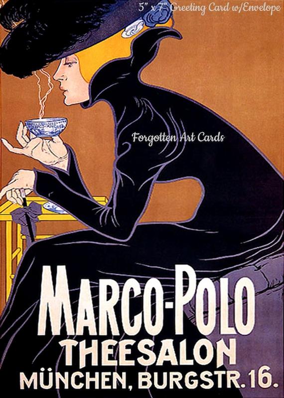 "Marco Polo Theesalon,  5""x7"" Greeting Card, + Envelope, Tea, Coffee, Cafe, Black, Copper, Forgotten Art Card, Pretty Girl Postcards"