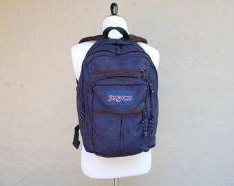 Vintage Classic Jansport Backpack Nylon Vegan Hipster Bookbag Organizer Ipad Computer Carrier Biker Bag Blue and Black USA Student Ruck Sack