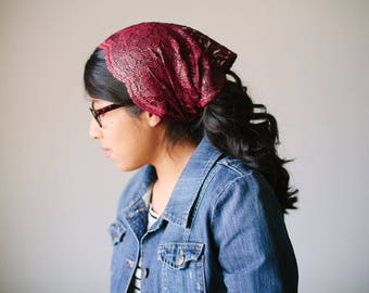 Sparkly Burgundy Wide Headcovering - Stretch Knit Headcovering | Women's Headcovering Veil