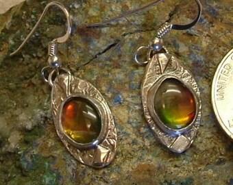 Ammolite Earrings Sterling Silver Utah Gem Fossil Statement Jewelry Dangle Statement Earrings Spectacular Rud Green Yellow Orange Fire 701