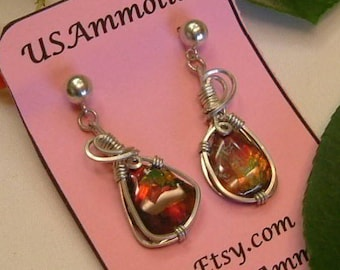 Ammolite Earrings Sterling Silver Utah Gem Fossil Statement Jewelry Statement Earrings Dangle Red Green Yellow Fire Wire 276