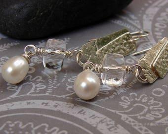 Rock Quartz Earrings, Pearl Earrings, Long Dangle Earrings, Sterling Silver Earrings, Gemstone Earrings, Elegant Earrings, Sparkly Earrings