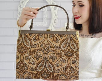 Vintage 1960s Brown and Taupe Vinyl and Tapestry Handbag in Faux Needlepoint by Dover