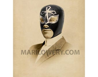 Lucha Libre Collage Art Print, Luchador Man's Portrait, 5x7 Print, 8x10 Print, Masculine Wall Art, Man Cave Decor, Gift for Men