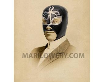 Luchador Art, Lucha Libre Collage Print, 8x10 Print, Masculine Wall Art, Man Cave Decor, Gift for Men, frighten