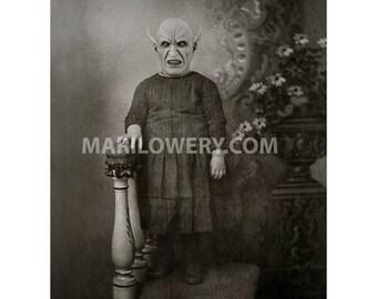 Black and White Creepy Halloween Wall Art 8.5 x 11 inch Print, Mixed Media Collage Dark Horror Art Decor