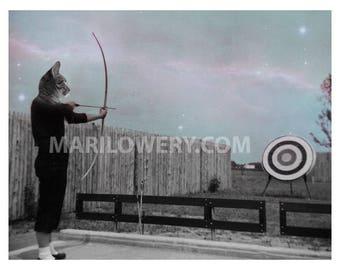Cat Art Print, Mixed Media Collage, Retro Art, Archery Gift, Weird Wall Decor, 11 x 8.5 Inch Print, Animal Wall Decor