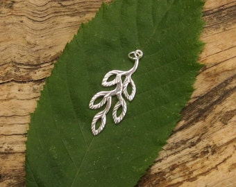 Sterling Silver Olive Branch - 11.5x30mm - Sold Per Piece