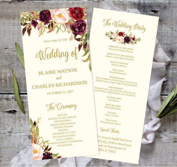 Wedding Program Template Printable Editable X Fall Floral - Floral wedding program templates