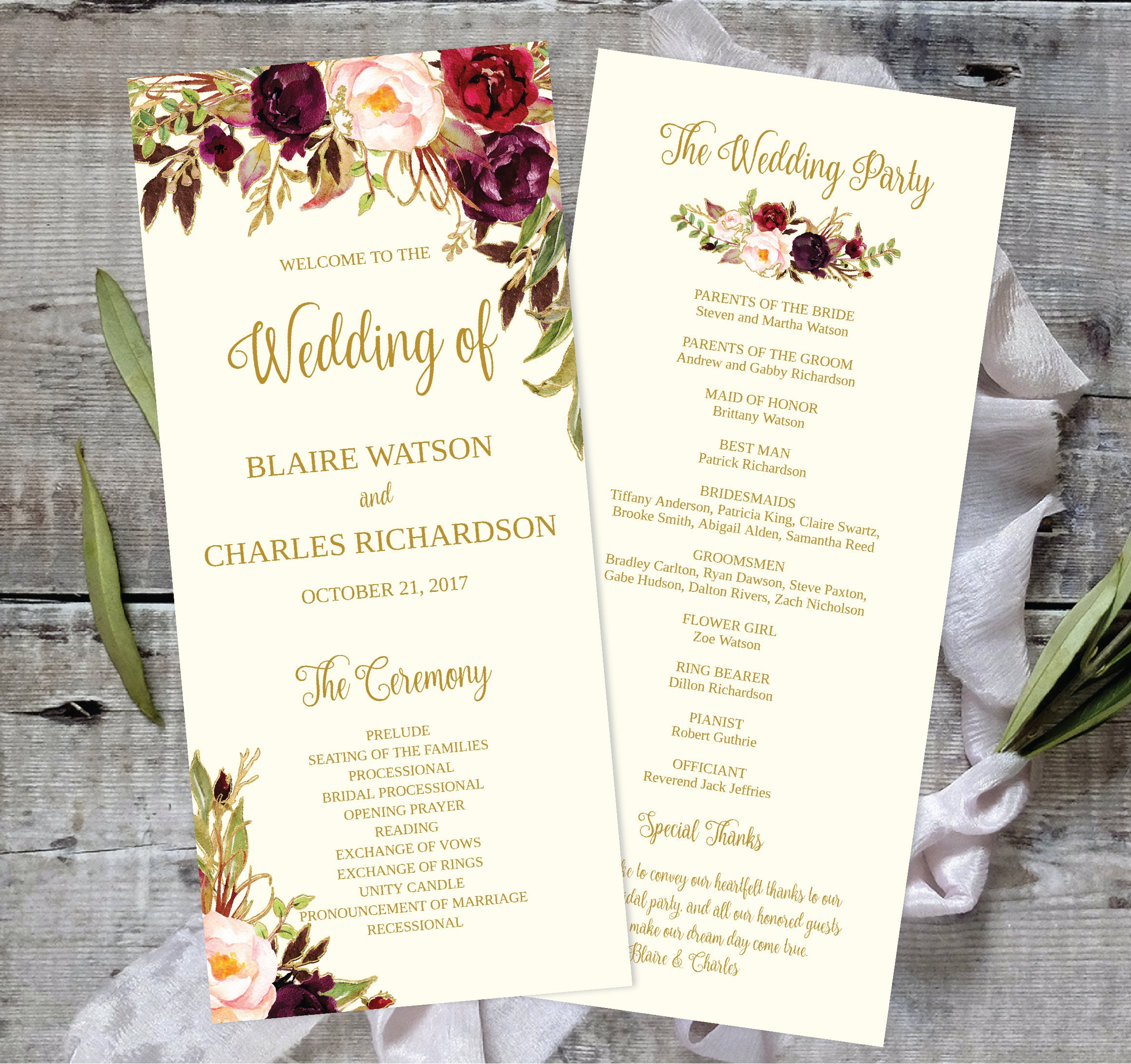 Wedding Program Ideas Templates: Wedding Program Template Printable / Editable 4x9 Fall