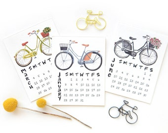 2018 Bicycle Small Desk Calendar Refill | Watercolor + Calligraphy Handmade Desk Calendar Bike Watercolor Illustrations