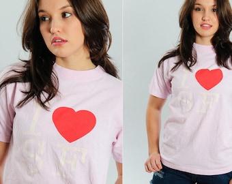 Small Vintage Pink I Heart SF T Shirt   Cali California San Francisco   5AA