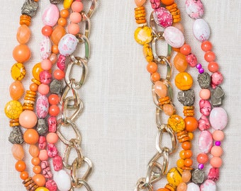 "Orange and Pink Necklace Hippy Boho Large Beaded and Chain | Hook Clasp | 25"" inch Multi Strand Chunky Beads Hand Made Handcrafted USA 