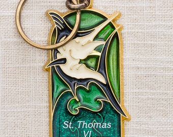 St. Thomas Virgin Islands Vintage Keychain Saint VI Swordfish Green Gold Glittery Key FOB Key Chain 7KC